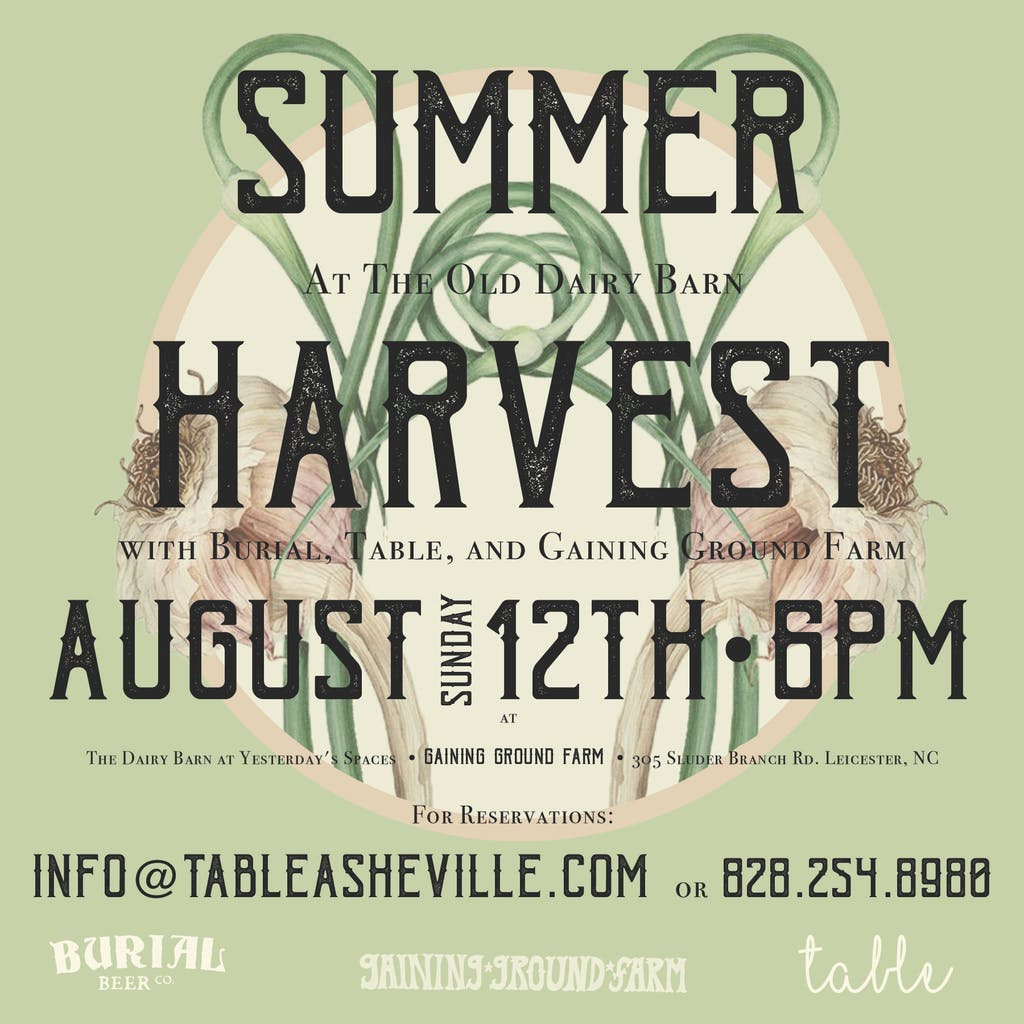Burial Table Harvest Dinner Gaining Ground Farm Burial Beer Co - Farm and table reservations